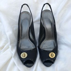 Coach Signature Logo Open Toe Pump Heel Shoes